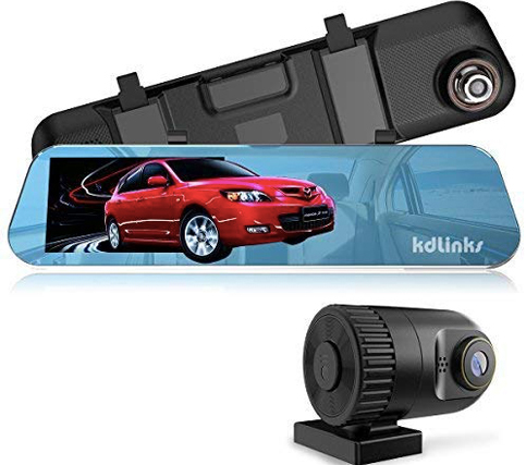 "KDLINKS R100 Ultra HD 1296P Front + 1080P Rear 280° Wide Angle Anti-Glare Rearview Mirror Dual Lens Dash Cam with IPS 5"" Screen"