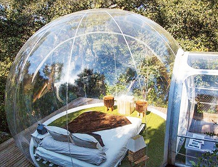 RJUN Transparent Viewing Inflatable Outdoor Camping Bubble Tent with Single Tunnel and Air Pump