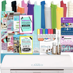 Silhouette Cameo 3 Bluetooth Bundle with 12x12 Inch Sheets of Oracal 651 Vinyl, Sketch Pens, Sticker Paper and Guide Books