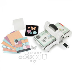 Sizzix Big Shot Starter Kit Manual Die Cutting Machine with Extended Platform and Bigz and Thinlits Dies, Embossing Folder and Cardstock, 6 in (15.24 cm)