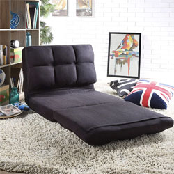 Loungie Micro-Suede 5-Position Adjustable Convertible Flip Chair, Sleeper Dorm Bed Couch Lounger Sofa, Black