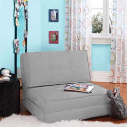 Your Zone Flip Chair Easily Converts Into a Bed - Ultra Suede Material (Silver)