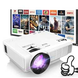 DR. J Professional HI-04 1080P Supported Portable Movie Projector, 3600L Mini Projector with 100Inch Projector Screen