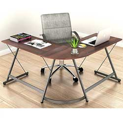 Le Crozz SHW L-Shape Corner Desk Computer Gaming Desk Table, Walnut
