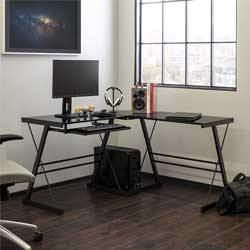 Walker Edison Furniture Company Modern Corner L Shaped Glass Computer Writing Gaming Gamer Command Center Workstation Desk