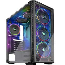 MUSETEX Phantom Black ATX Mid-Tower Desktop Computer Gaming Case USB 3.0 Ports Tempered Glass Windows