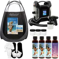 Ultra Pro T85-QC High Performance Sunless Turbine Spray Tanning System; Belloccio 4 Solution Variety Pack, Tanning Tent, Accessories and Video Link - The Best Professional High Performance Spray Tan System